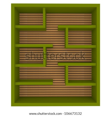 Empty green shelves design on white background. - stock photo