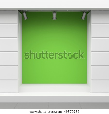 Empty green show-window of shop - stock photo