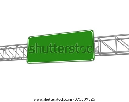 Empty green sign, road sign, 3d illustration - stock photo