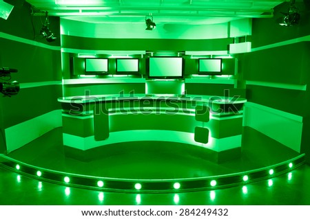 empty green television studio ready for work - stock photo
