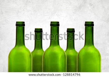 Empty green wine bottles