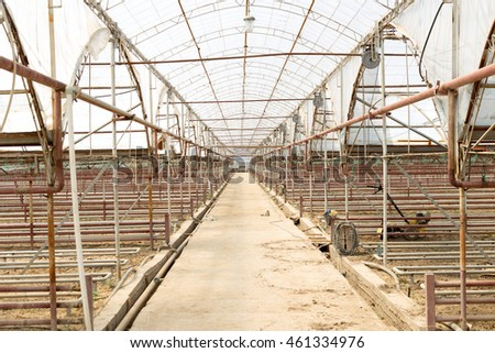 Empty greenhouse with soil prepared for cultivation of new plants