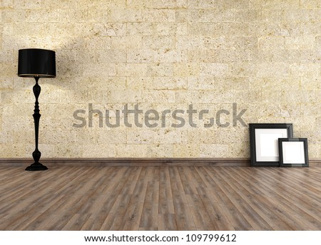 empty grunge interior with old stone wall - rendering - stock photo