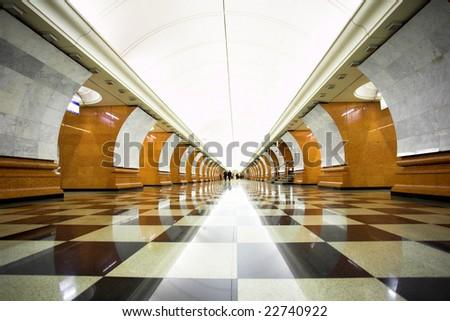 Empty hall undeground station - stock photo
