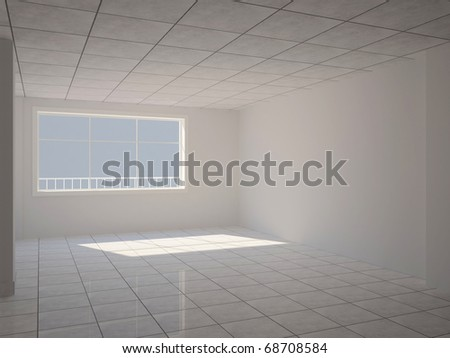 Empty hall with large window