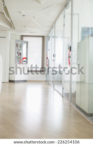 Empty hallway in creative office - stock photo