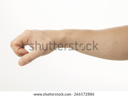 Empty hand clinging on white - stock photo