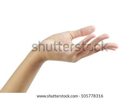 Empty hand palm showing something  isolated on white background. - stock photo