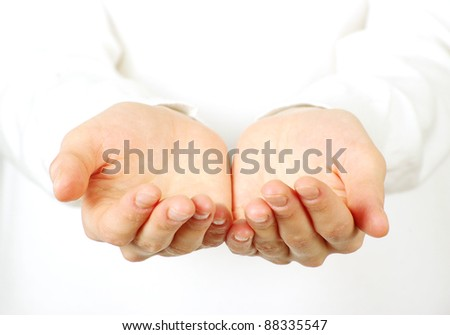Empty hands isolated on white - stock photo