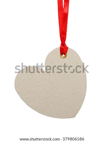 Empty heart shaped tag on a string. Sale or price tag. - stock photo