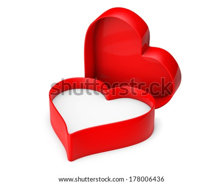 Empty Heart valentine box on a white background - stock photo