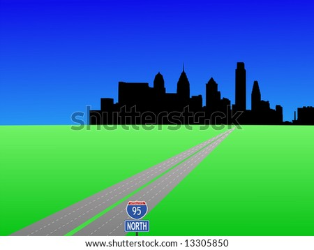 empty highway leading to Philadelphia skyline illustration JPG