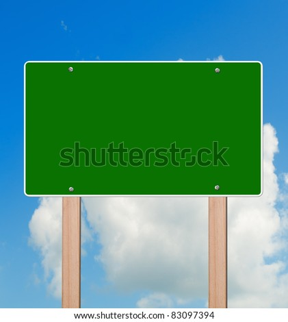 Empty highway sign in bright sky, clipping path. - stock photo