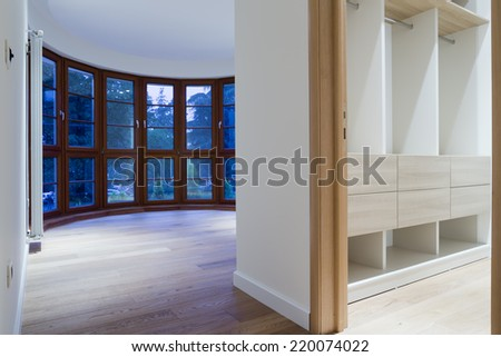 Empty home rooms and wardrobe interior - stock photo