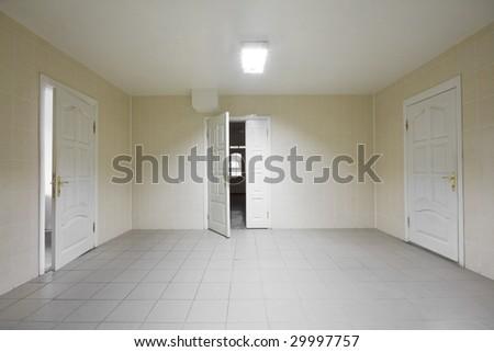 Empty hospital hall with the doors - stock photo