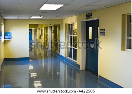 empty hospital hallway, perspective view, healthcare series - stock photo