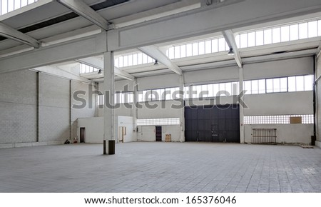 Empty industrial factory - stock photo