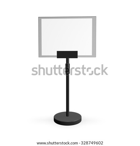 Empty information commercial panel board standing, isolated on white background 3d illustration. - stock photo
