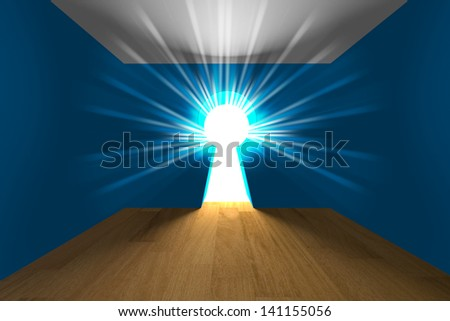 Empty interior blue room a keyhole shaped door with light - stock photo