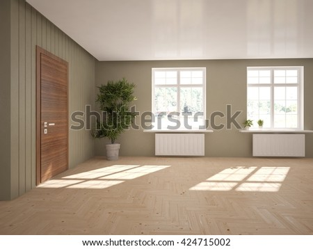 empty interior -3D illustration - stock photo