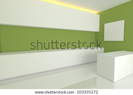 empty interior design for kitchen room with green wall. - stock photo
