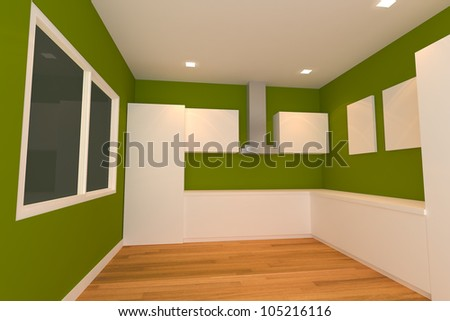 empty interior design for kitchen room with green wall.