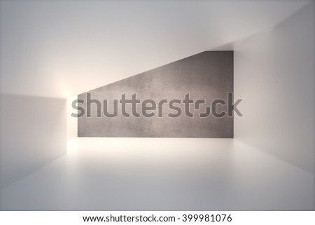 Empty interior design with blank dark concrete wall and sunlight. Mock up, 3D Render - stock photo