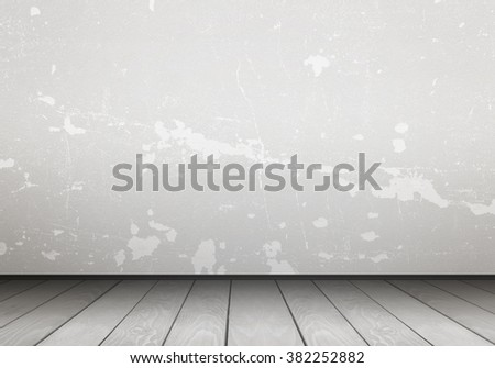 Empty interior for design, poster or text on free space. White wall and wooden floor.