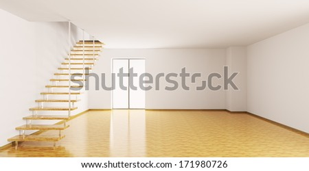 Empty interior of a room with staircase 3d render - stock photo