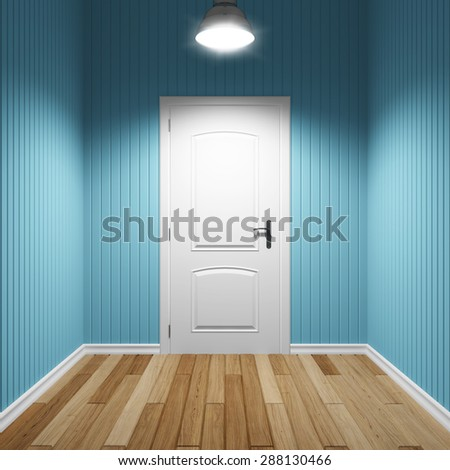 Empty interior room with door - stock photo
