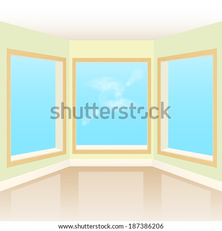 Empty interior room with three windows. Raster copy  - stock photo