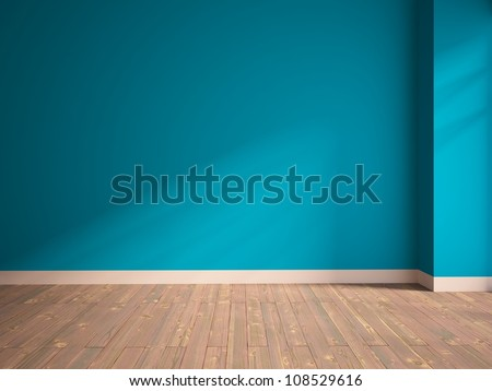 empty interior with a blue wall - stock photo