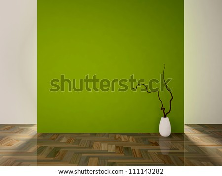 empty interior with a green wall and a white vase with branch - stock photo