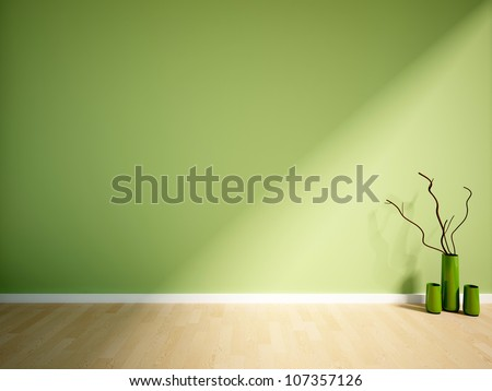 empty interior with a green wall and vase - stock photo