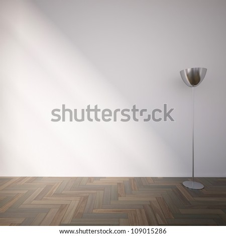 empty interior with a lamp - stock photo