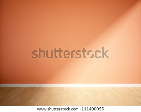 empty interior with a orange wall