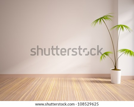 empty interior with a palm