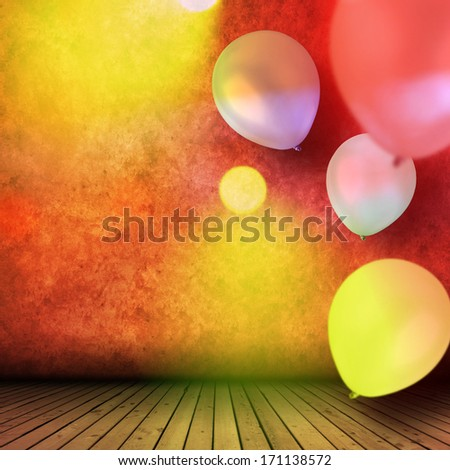 Empty interior with balloons for celebration - stock photo