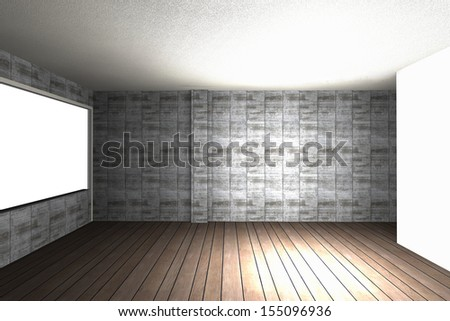 Empty interior with bare concrete wall and wood floor