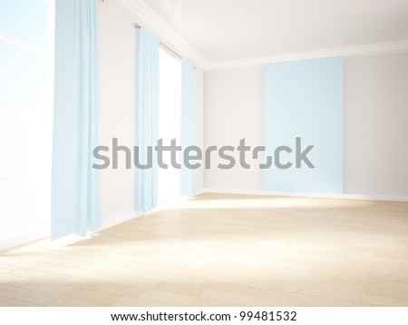 empty interior with blue curtains and wall - stock photo