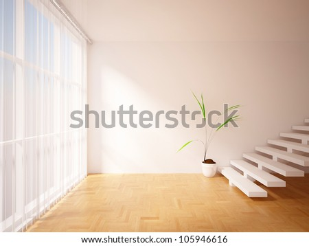 empty interior with curtains, stairs and flower - stock photo