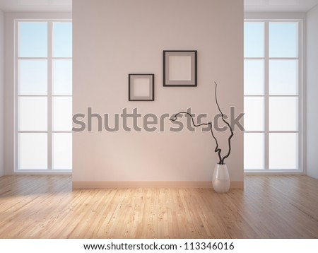 empty interior with frames on the wall - stock photo