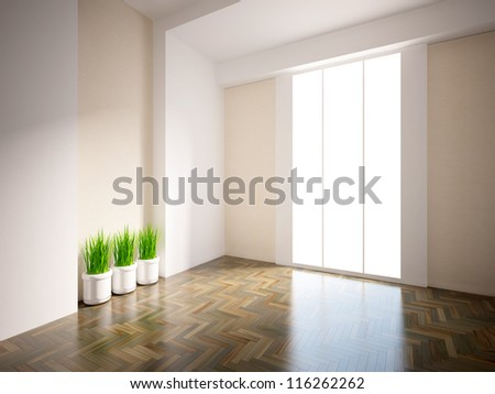 empty interior with grass - stock photo