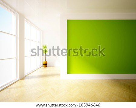 empty interior with green wall and plant - stock photo