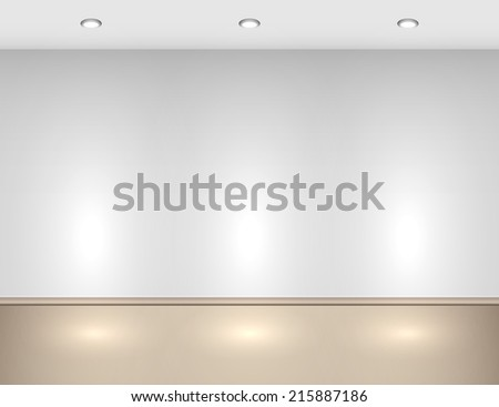 Empty interior with halogen lamps. - stock photo