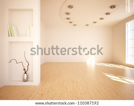 empty interior with lamp on the roof - stock photo