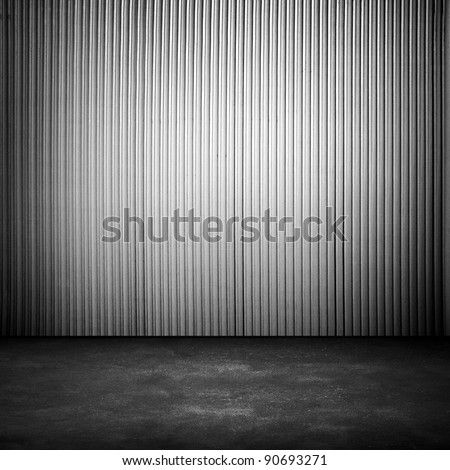 empty interior with metal fence - stock photo