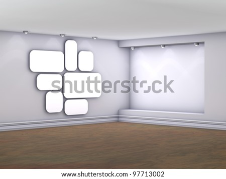 Empty interior with niche, spotlights and blank pictures on the wall