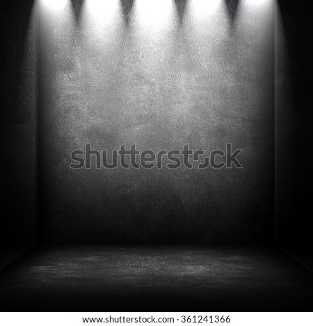 empty interior with spotlight background - stock photo