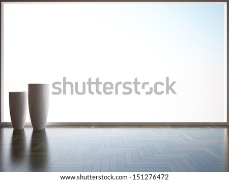 empty interior with white vases - stock photo